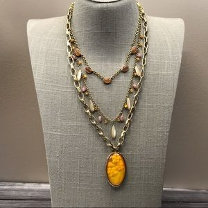 Floral yellow & pink multistrand necklace by Monet